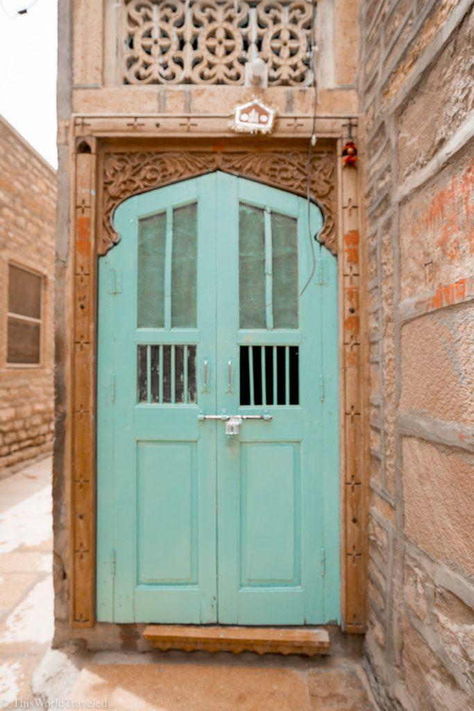 A turquoise door in Jaisalmer, India