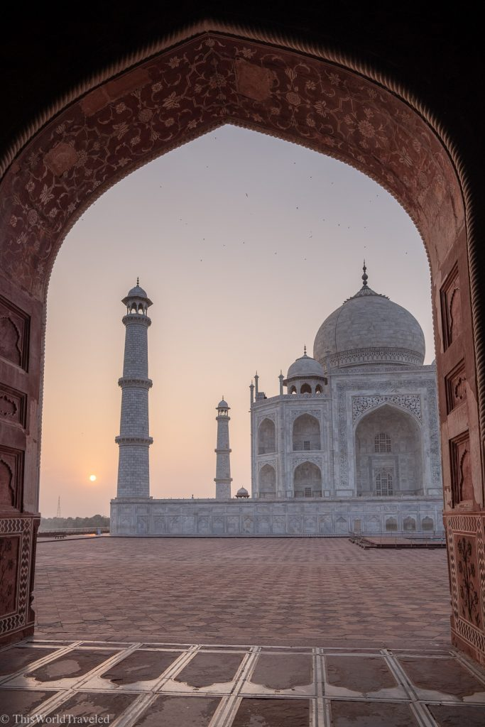 View of the Taj Mahal in Agra, India during sunrise