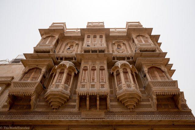 The sandstone building and unique architecture of a Haveli in Jaisalmer