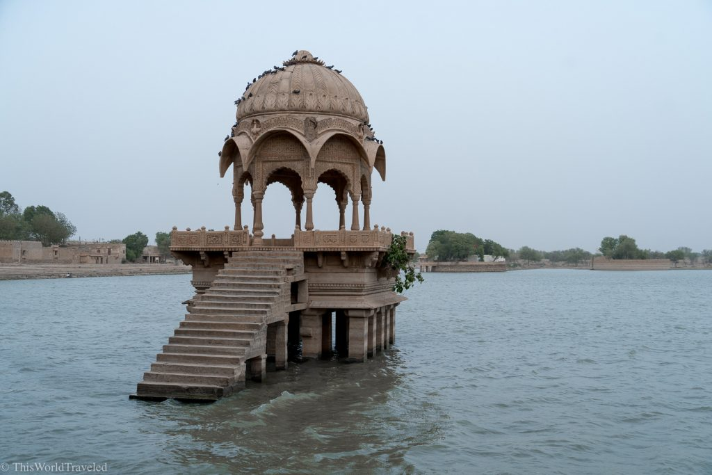 Gadisar Lake in Jaisalmer has these structures in the lake