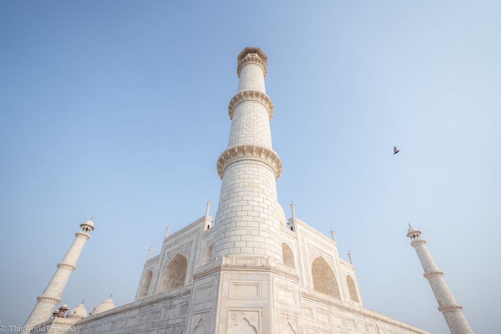 The columns made of white marble on the Taj Mahal