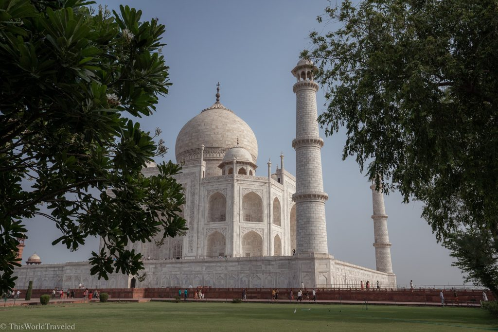 View of the Taj Mahal from behind the trees in Agra, India
