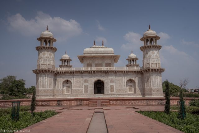 The white marble details of the Itmad-ud-Daula in Agra