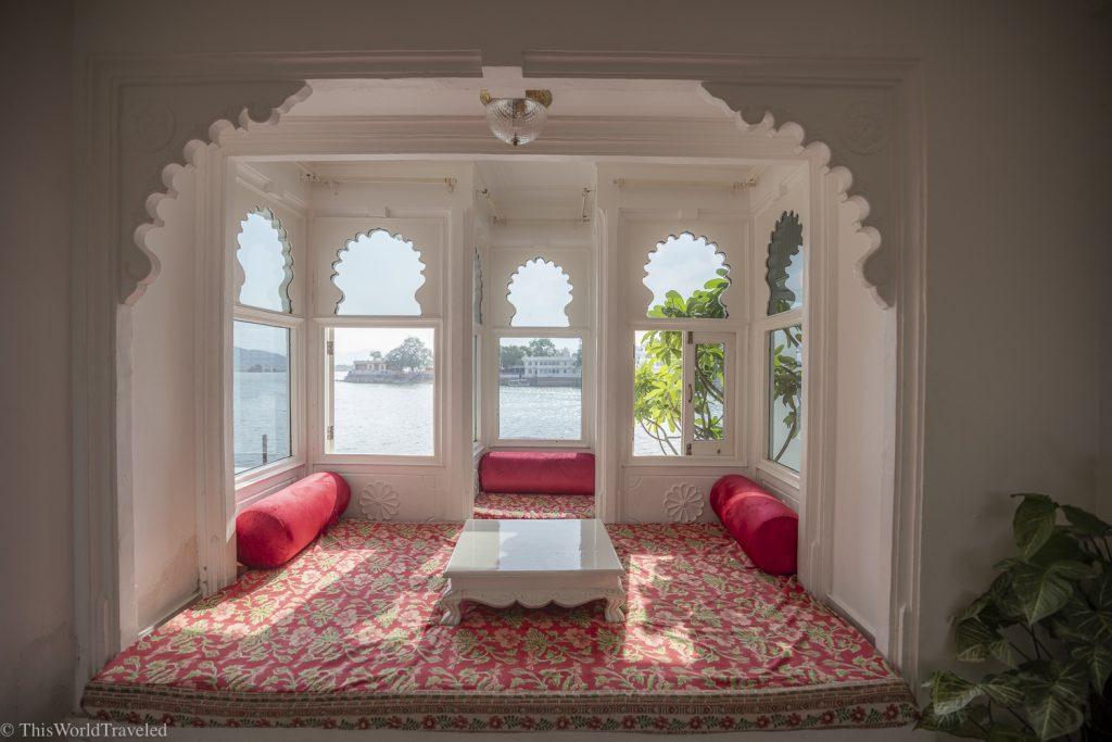 Seating area on Lake Pichola in Udaipur, India