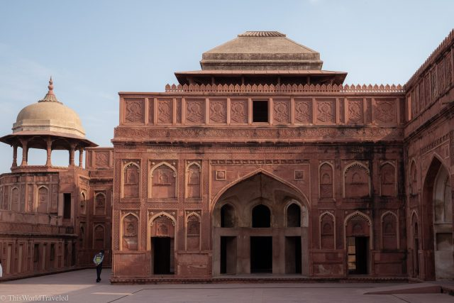The red sandstone building of the Red Fort in New Delhi, India