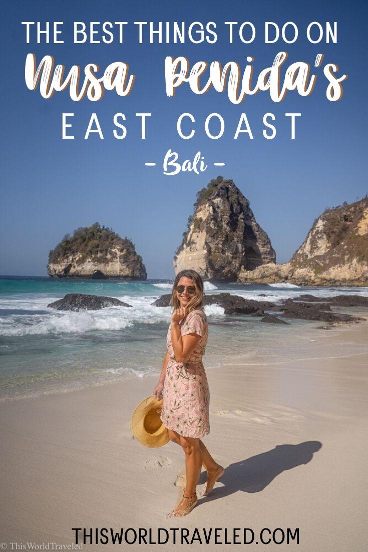 Girl walking on Diamond Beach Nusa Penida, Bali