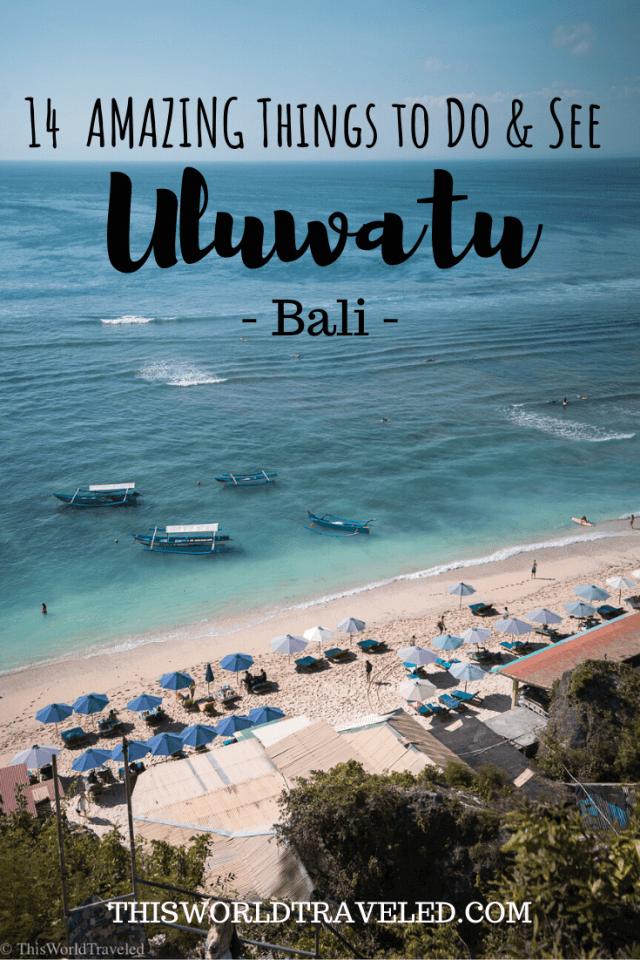 View of Thomas beach and the turqouise water and white sand beach in Uluwatu, Bali