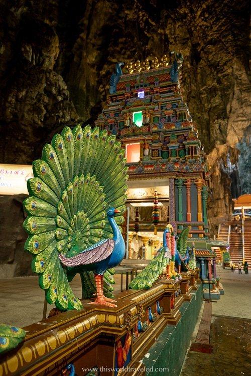 Hindu shrines inside the Batu Caves temple near Kuala Lumpur