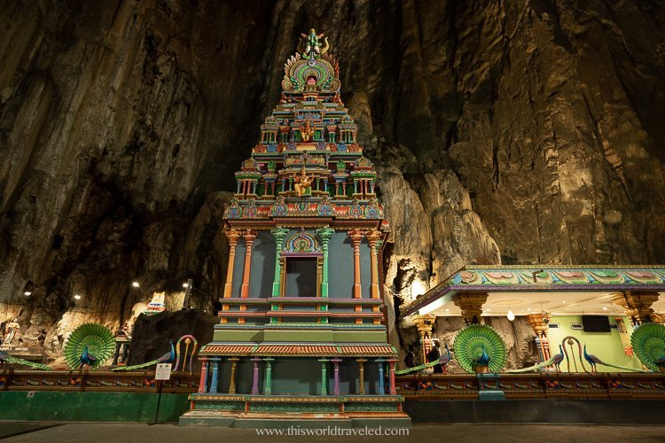 Hindu shrines inside the Batu Caves Temple in Malaysia