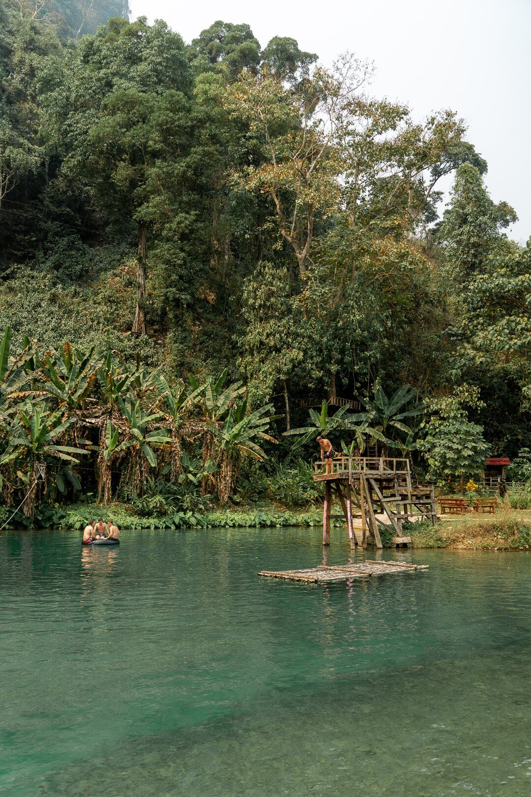 Rafts and zip lines at the blue lagoon 3 in Vang Vieng, Laos