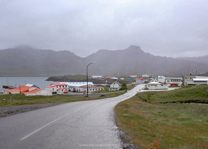 Driving along Route 94 into Borgarfjörður Eystri in Iceland