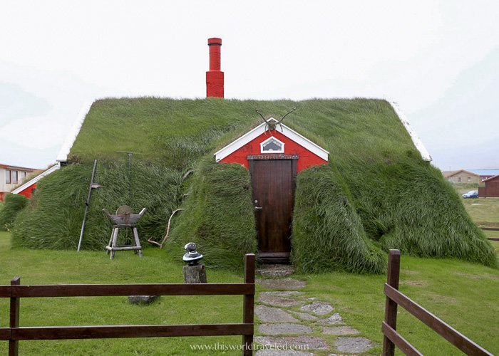 The red turf house in Borgarfjörður eystri in East Iceland