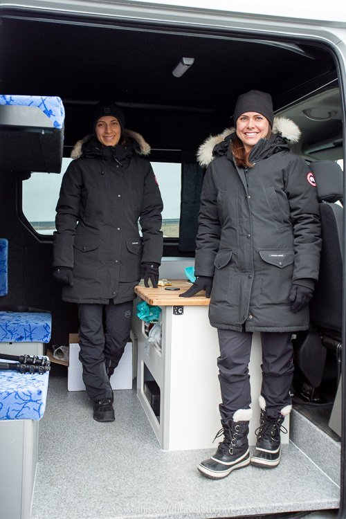 Inside the larger camper van with KuKu campers in Iceland