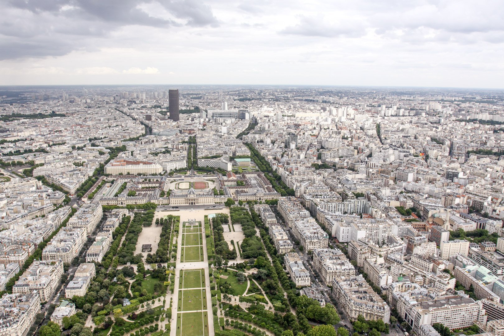 View of the Champ de Mars from inside the Eiffel Tower