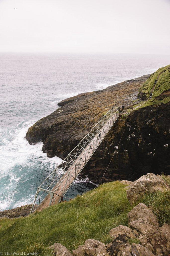 View of the bridge in the Faroe Islands that crosses the Atlantic ocean