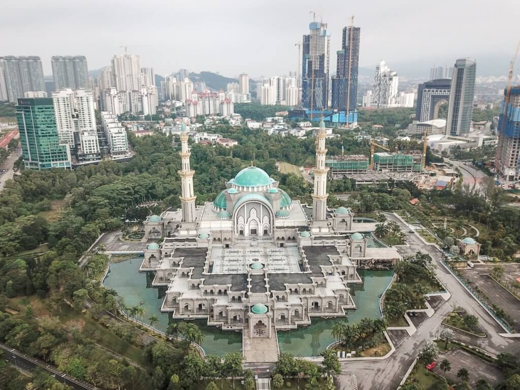 Drone shot of the Wilayah Mosque in KL