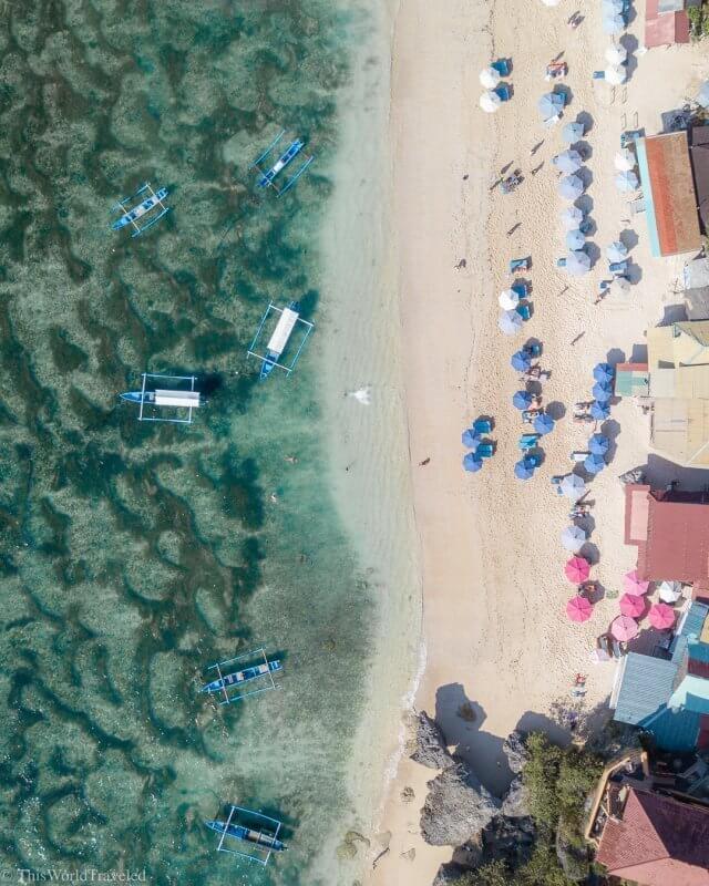 Drone view of Thomas Beach in Uluwatu, Bali
