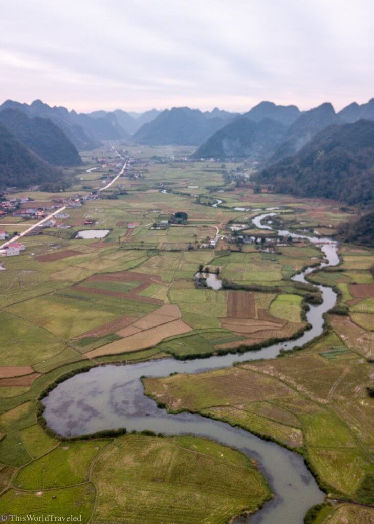 The snaking river running through rice terraces at the Bac Son Valley in Vietnam