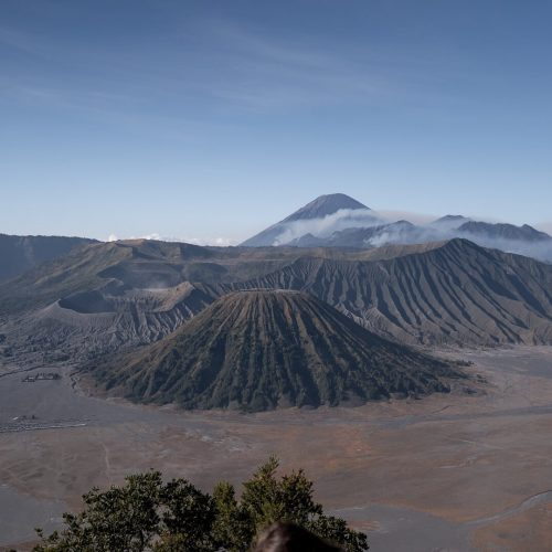 View of Mount Bromo at sunrise from the Siruni Viewpoint in East Java.