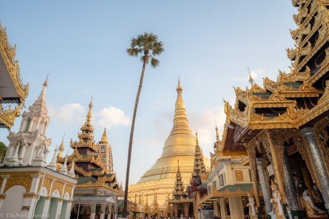 Sunset at the Shwedagon Pagoda in Yangon, Myanmar