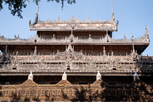 The wooden details of the Shwenandaw Monastery in Mandalay, Myanmar