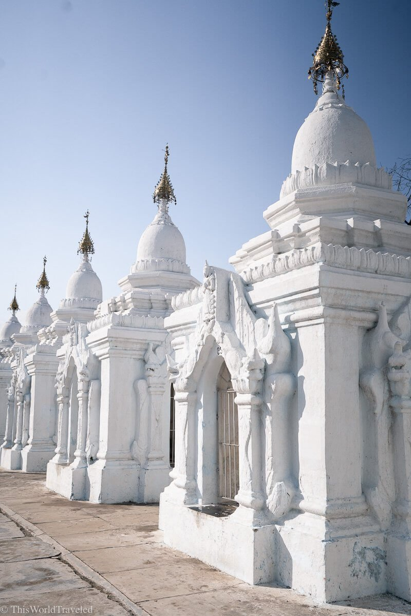 The Kuthodaw Pagoda is known as the world's largest book. Within the grounds you will find 729  white stupas, each containing an inscribed marble slab.