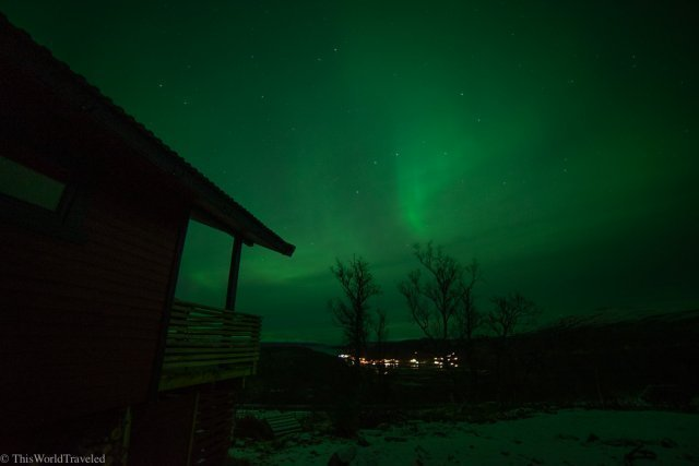The green color of the northern lights in Northern Norway