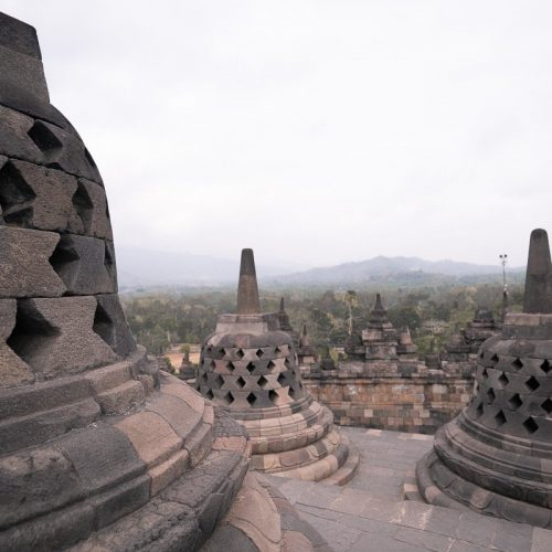 The Borobudur temples at sunrise in Yogyakarta, Indonesia