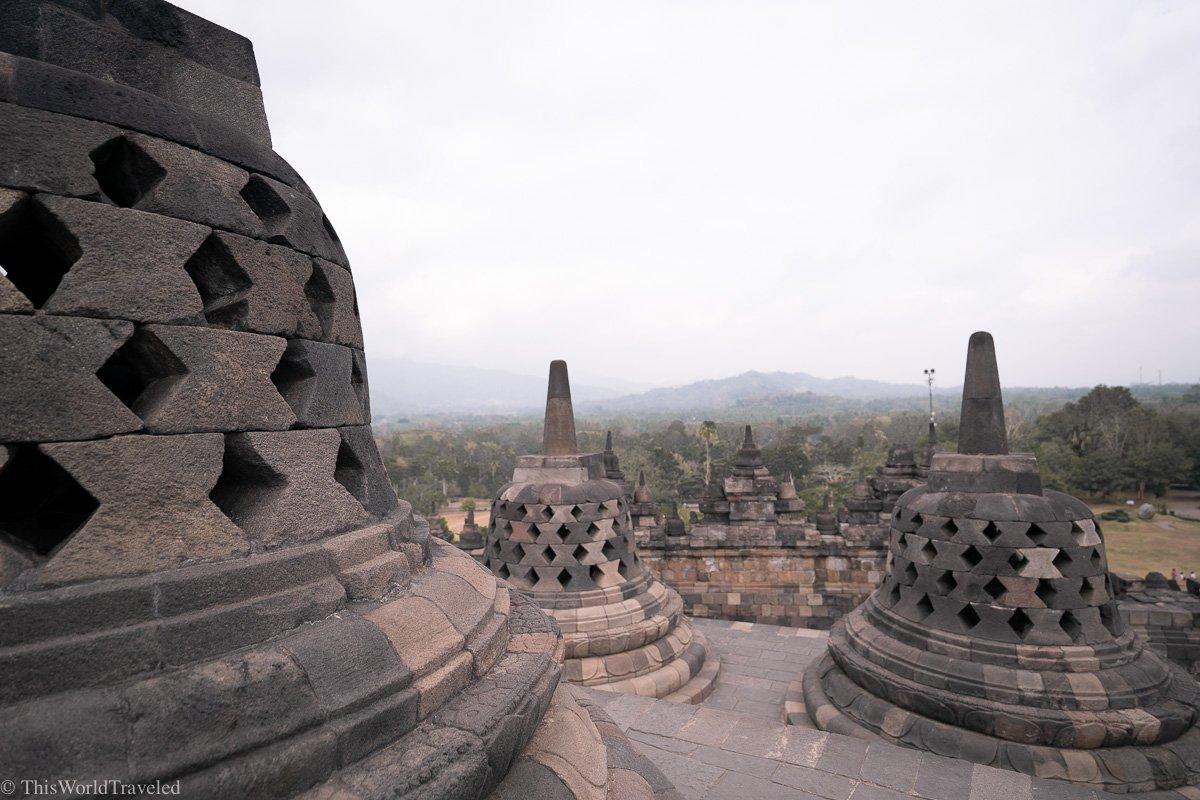 The Borobudur temples at sunrise in Yogyakarta, Indonesia