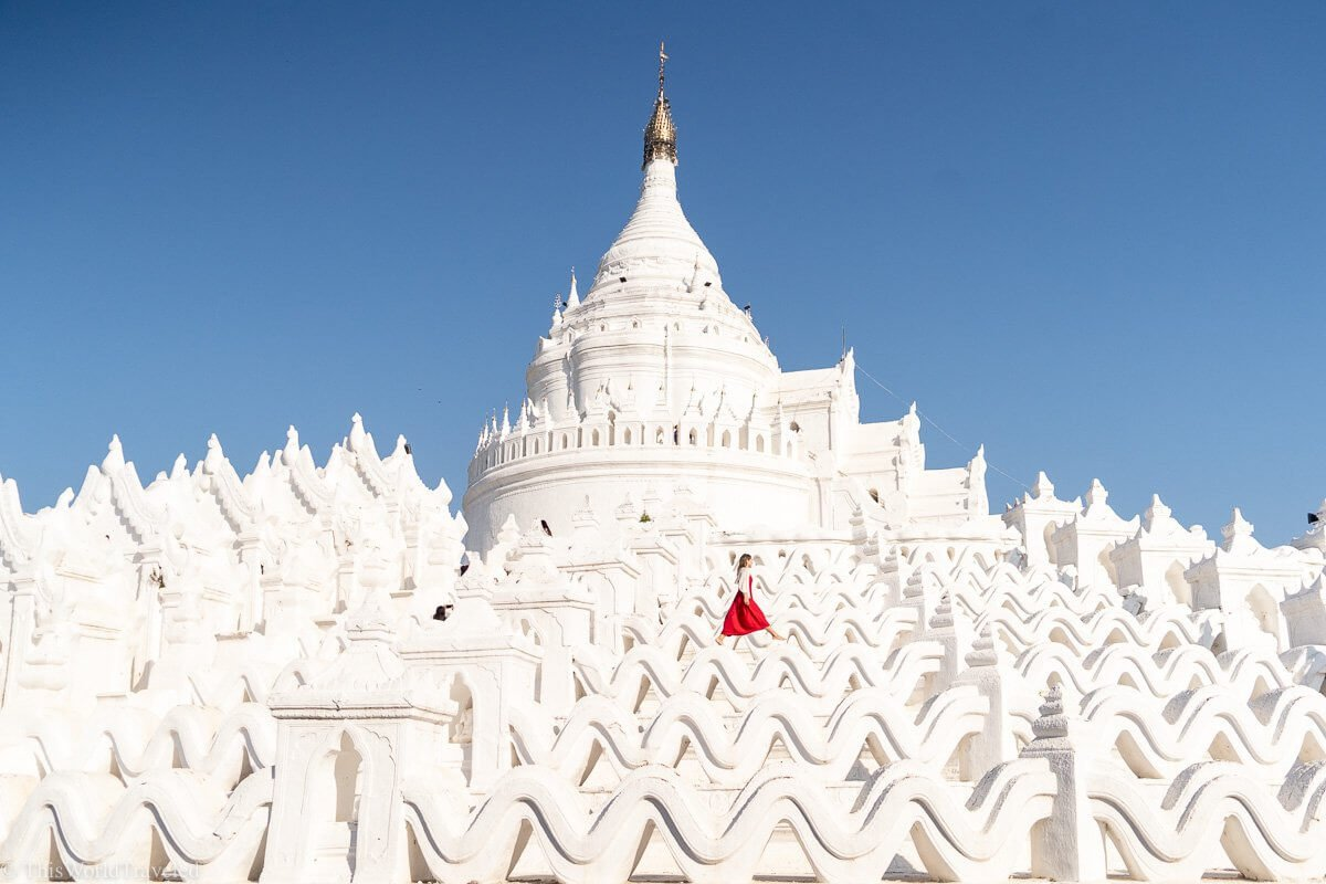 The Hsinbyume Pagoda is a beautiful white pagoda located about an hour from Mandalay in Mingun, Myanmar
