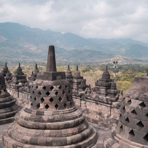 The small stupas at the top of the Borobudur Temple in Indonesia