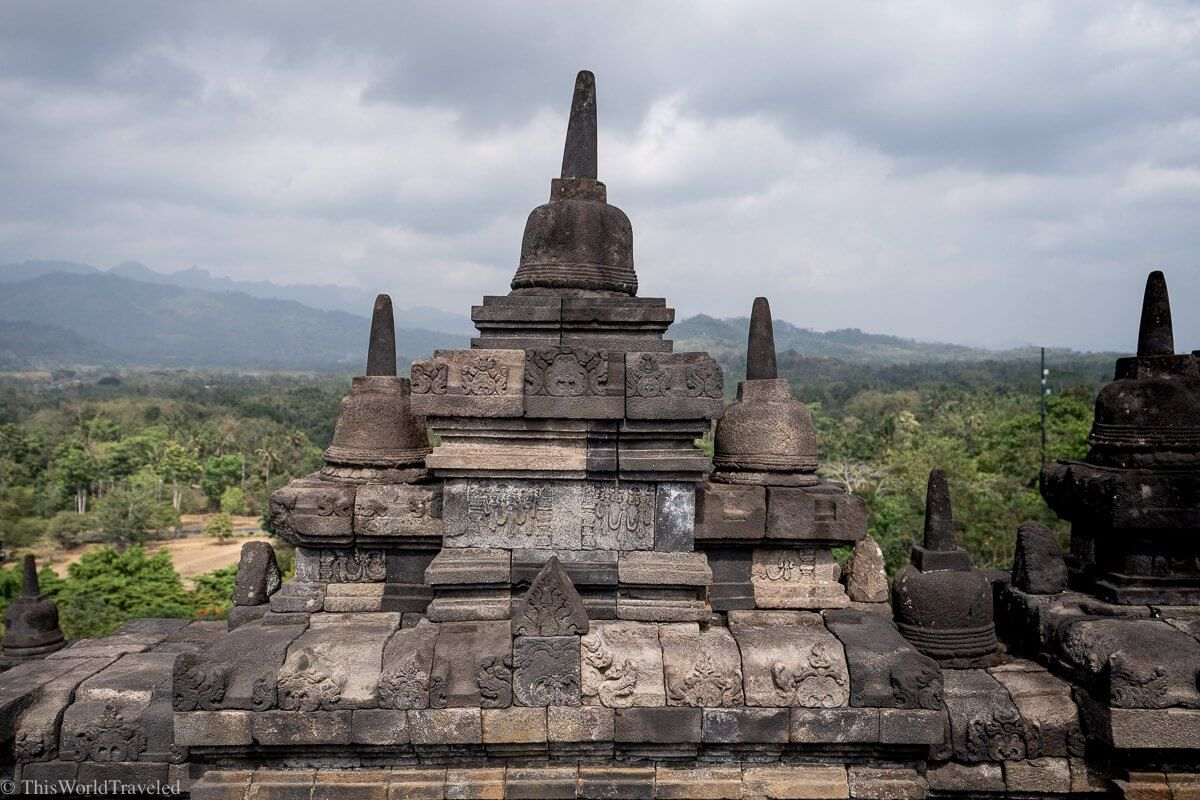 Inside the Borobudur Temple in Central Java, Indonesia