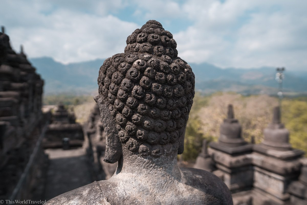 One of the main Buddhas that can be seen at the Borobudur Temple in Indonesia