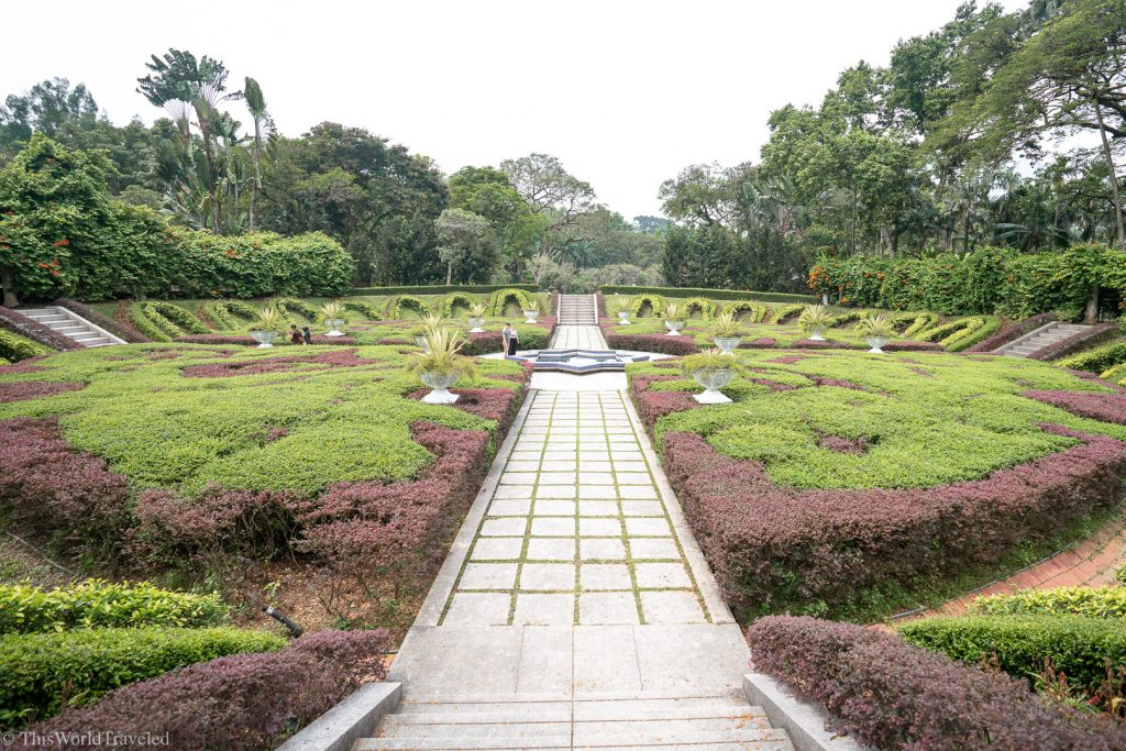 The greenery and flowers inside the Perdana Botanical Gardens in Kuala Lumpur, Malaysia