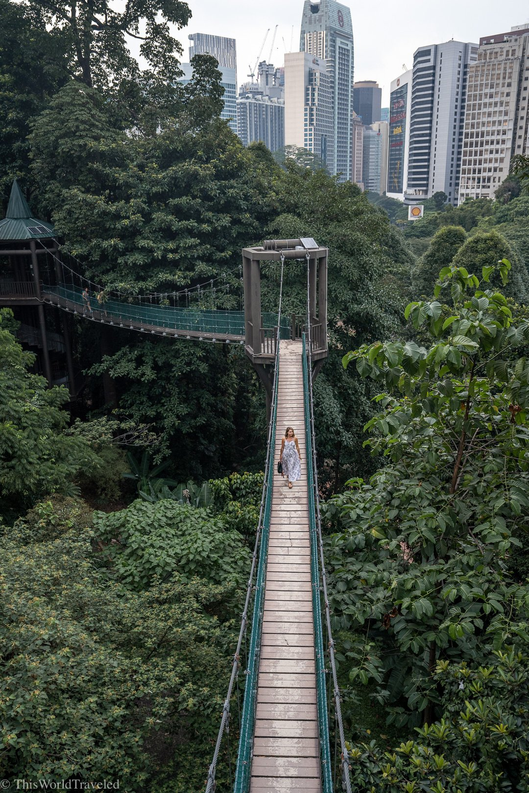 Girl walking along the canopy at the KL Eco Forest Park in Malaysia