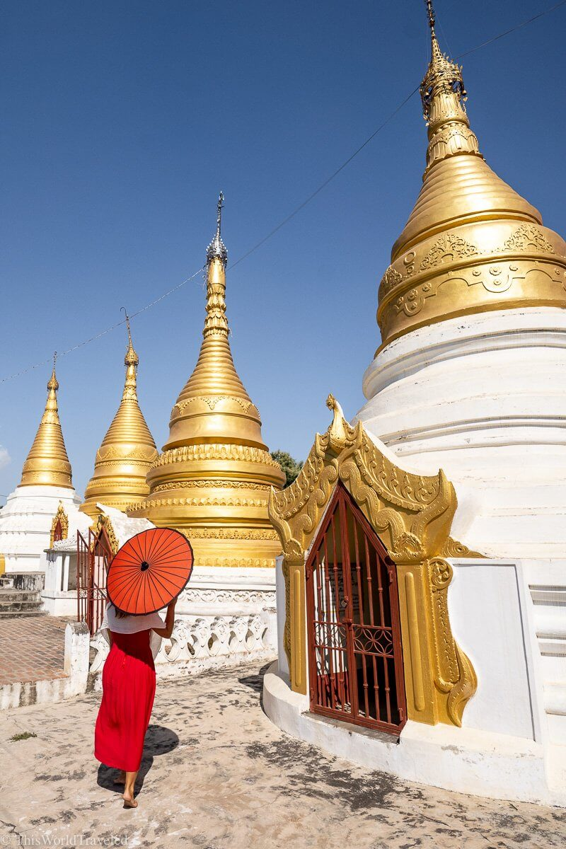 The Shwe Kyat Yat Pagoda is located on the way from Mandalay to Mingun in Myanmar