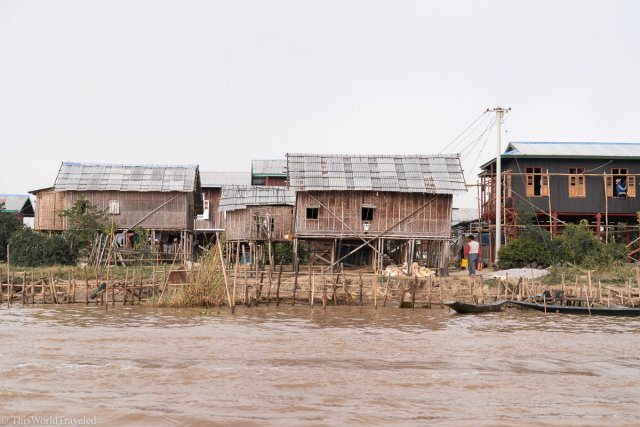 Houses on the lake in Inle Lake, Myanmar