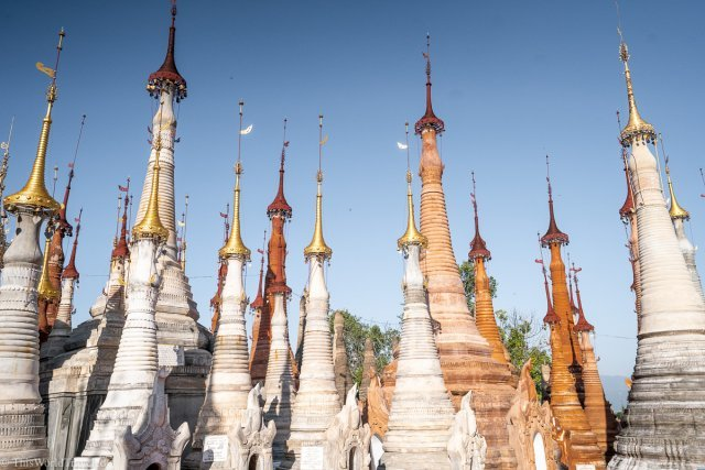 The unique pagodas at the Shwe Inn Dein Pagoda in Inle Lake