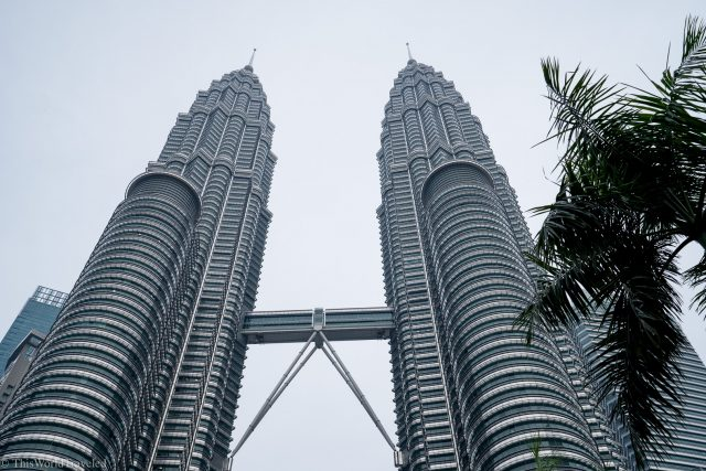The view looking up of the Petronas Twin Towers in Kuala Lumpur, Malaysia