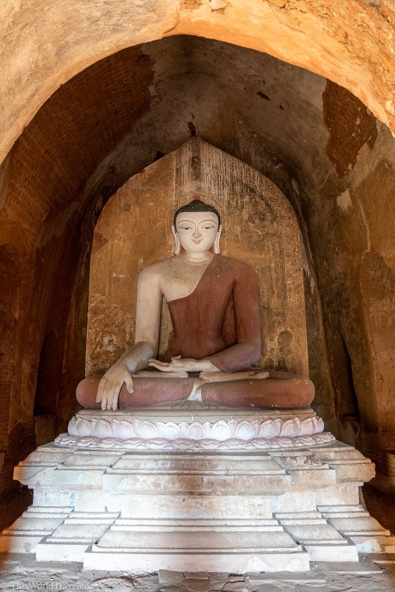 A buddha statue in the temples in Bagan, Myanmar