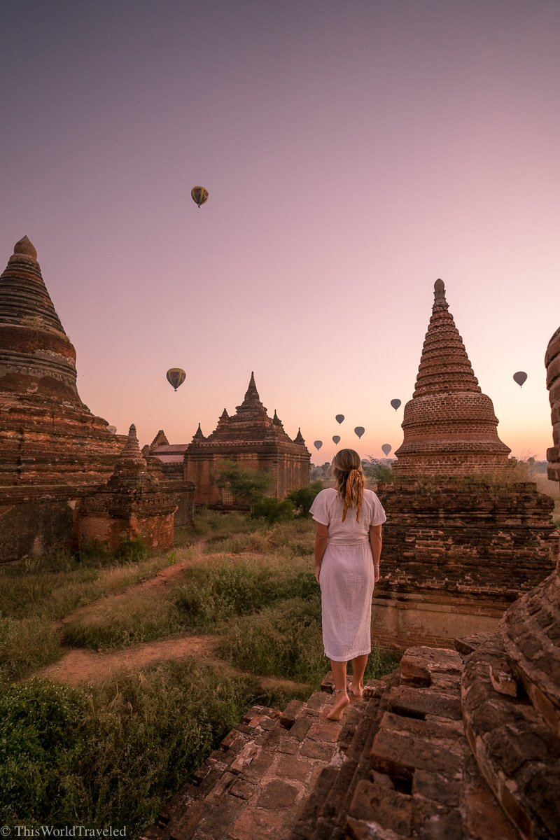 Watching the sunrise and hot air balloons at the temples in Bagan, Myanmar