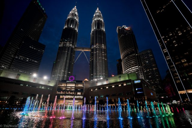 The fountain light show at the Petronas Twin Towers in Kuala Lumpur, Malaysia