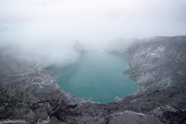 The milky blue waters of the Ijen Crater in Java