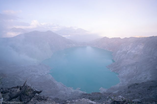 The milky blue water of the crater lake at Kawah Ijen in Java, Indonesia