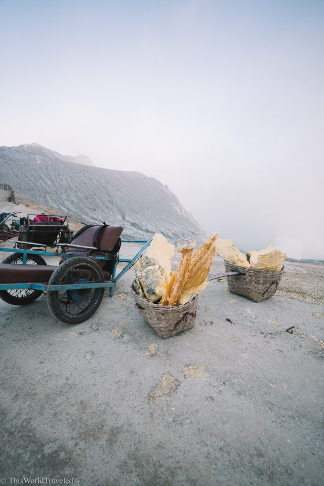 The sulfur at the Ijen Crater that the workers mine for in Java