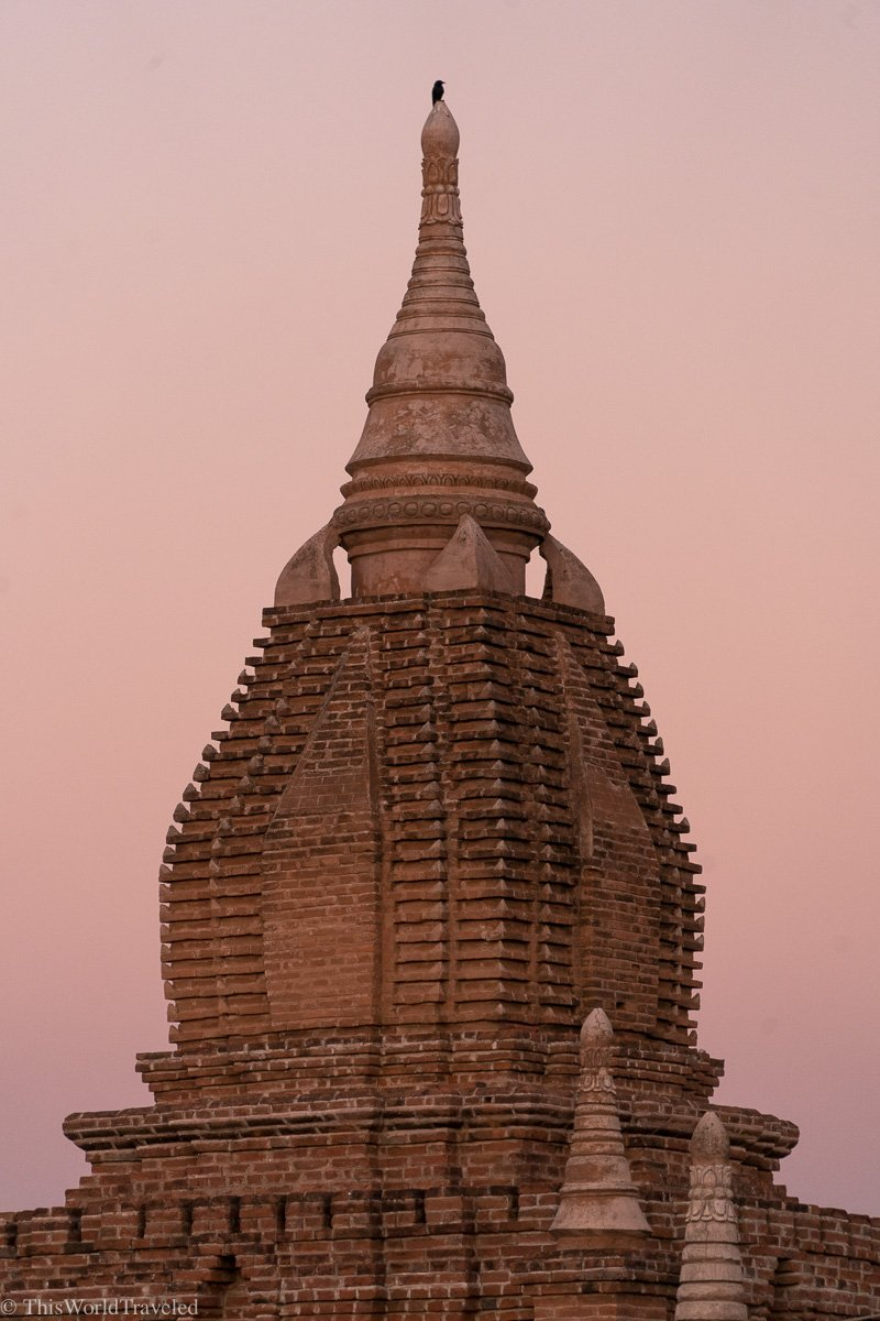A pagoda at sunrise in Bagan, Myanmar