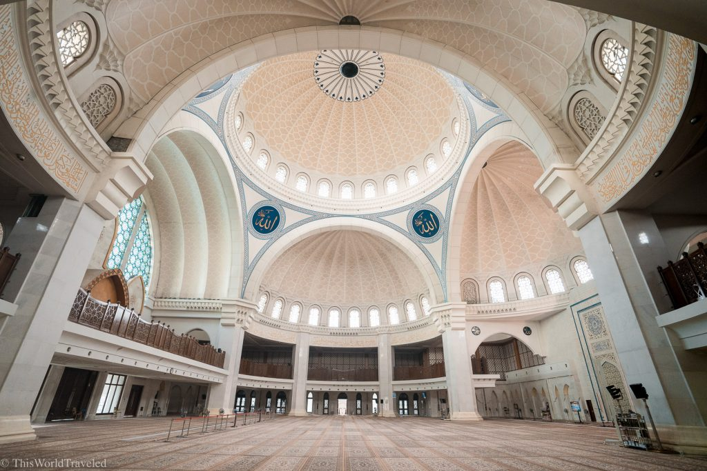 The interior of the Wilayah Mosque in Kuala Lumpur, Malaysia