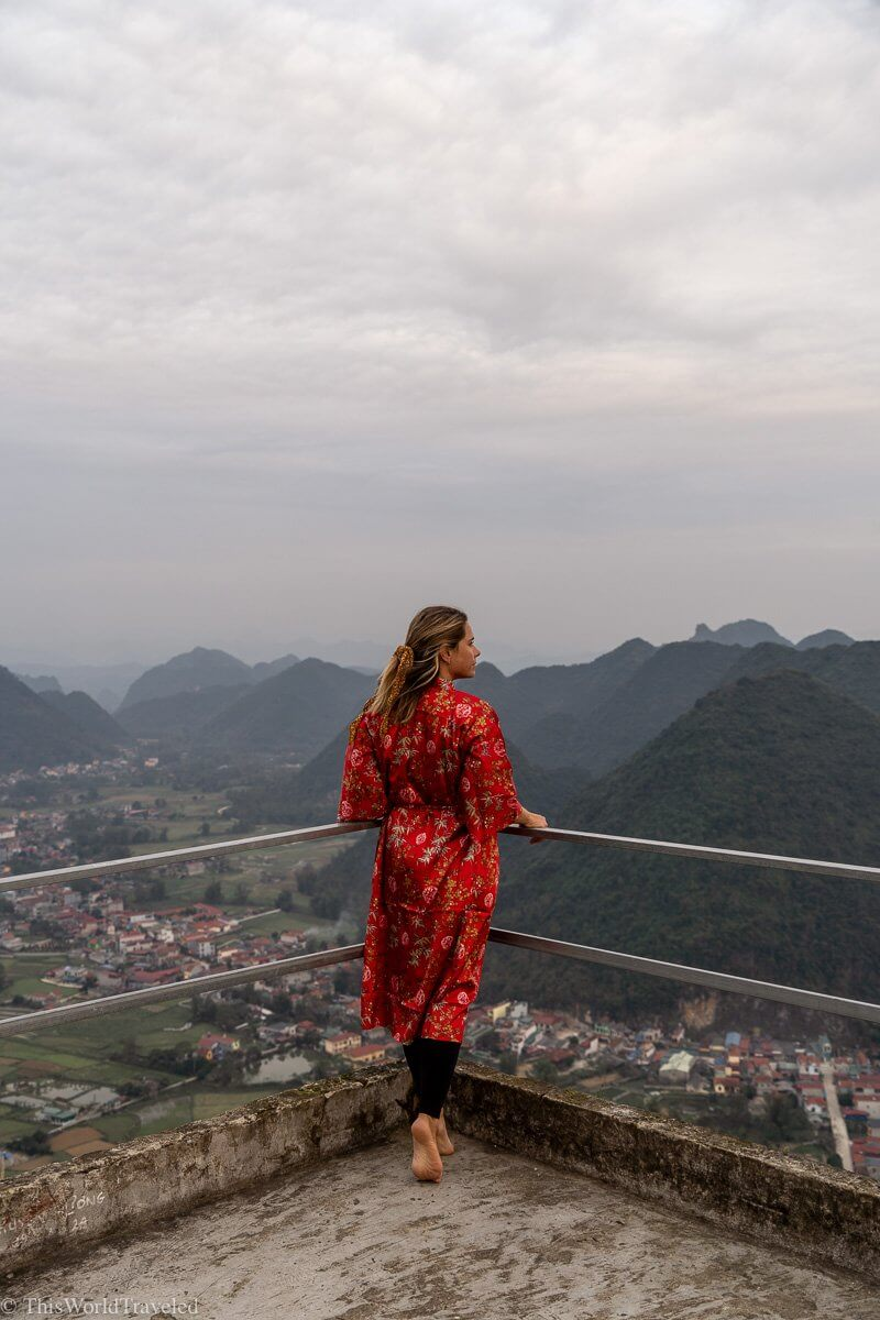 Girl looking out over the rice terraces of the Bac Son Valley from the viewpoint in Vietnam