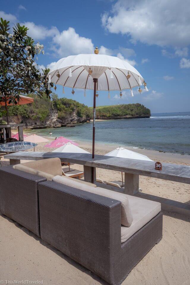 Beach chairs and umbrella at Balagan Beach in Uluwatu, Bali