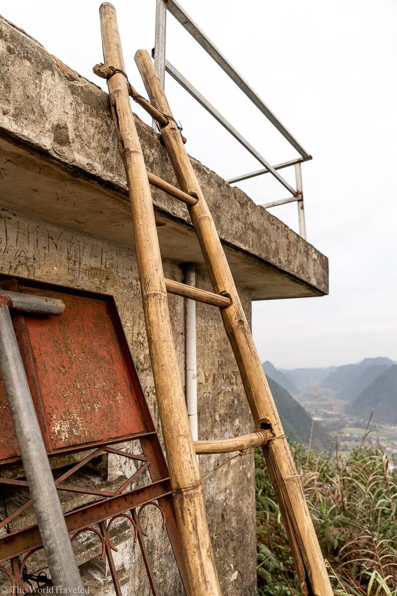 The ladder to climb up to get the best view of the Bac Son Valley in Vietnam